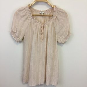 Joie Masha Check Pink Blouse with Tassels - M